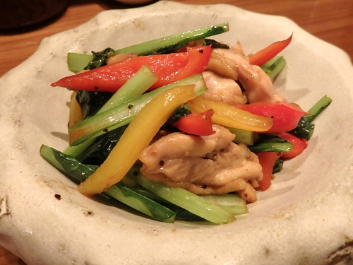 49鶏と小松菜の塩炒め