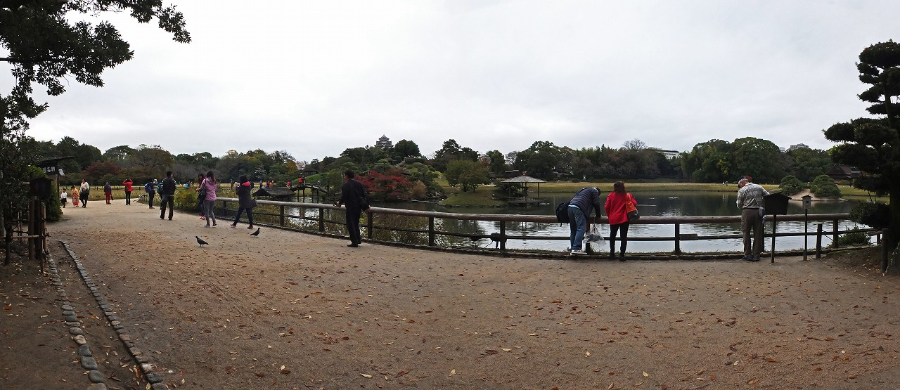 s-20151114 後楽園今日の園内慈眼堂付近から眺めたワイド風景 (1)