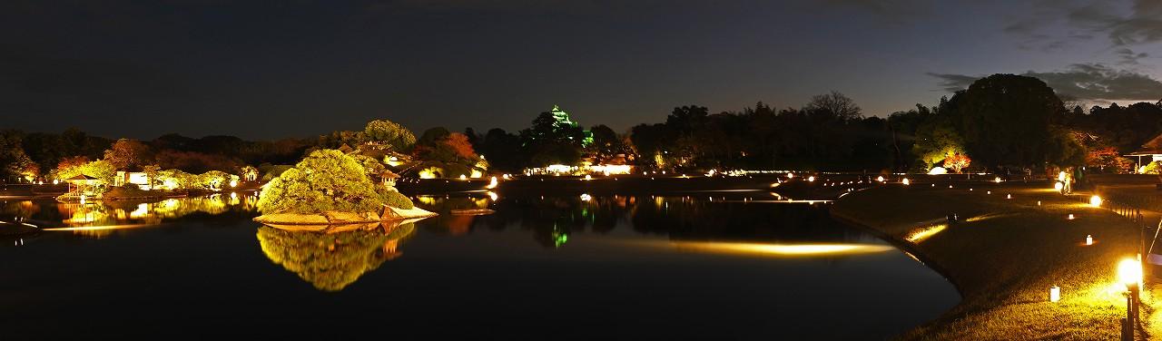 s-20151120 後楽園秋の幻想庭園の様子沢の池ワイド風景 (1)