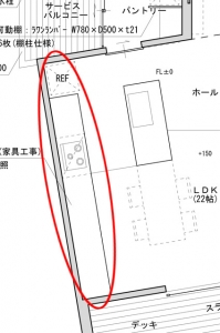 キッチン図面 壁