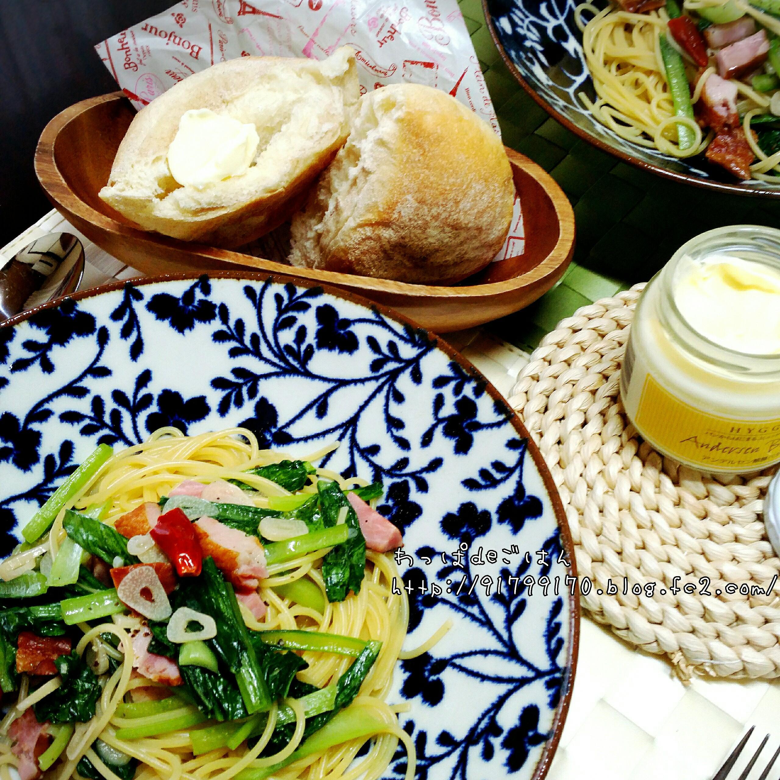 厚切りベーコンと小松菜のペペロンチーノ