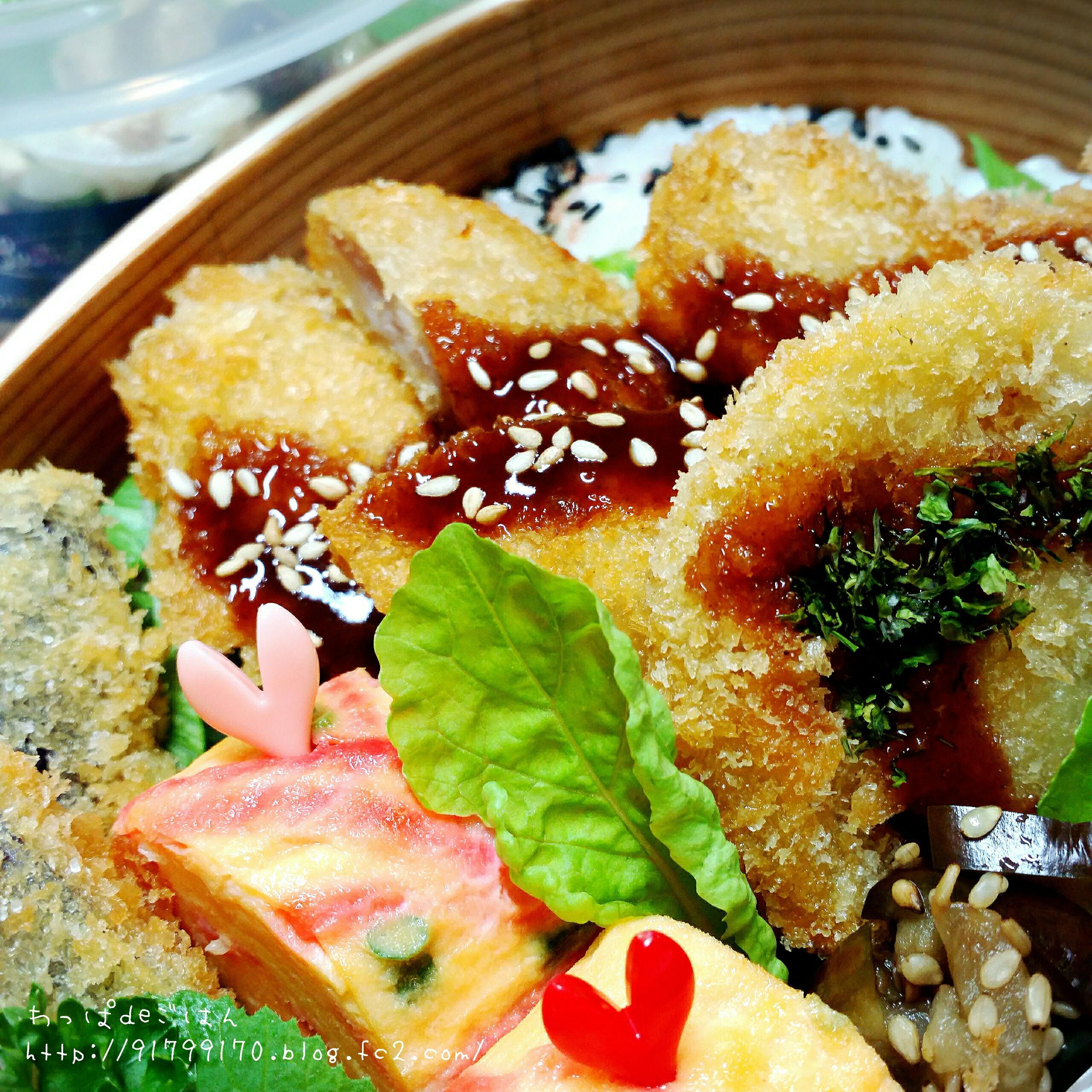 ソースカツ丼(茄子と蓮根)の曲げわっぱ弁当