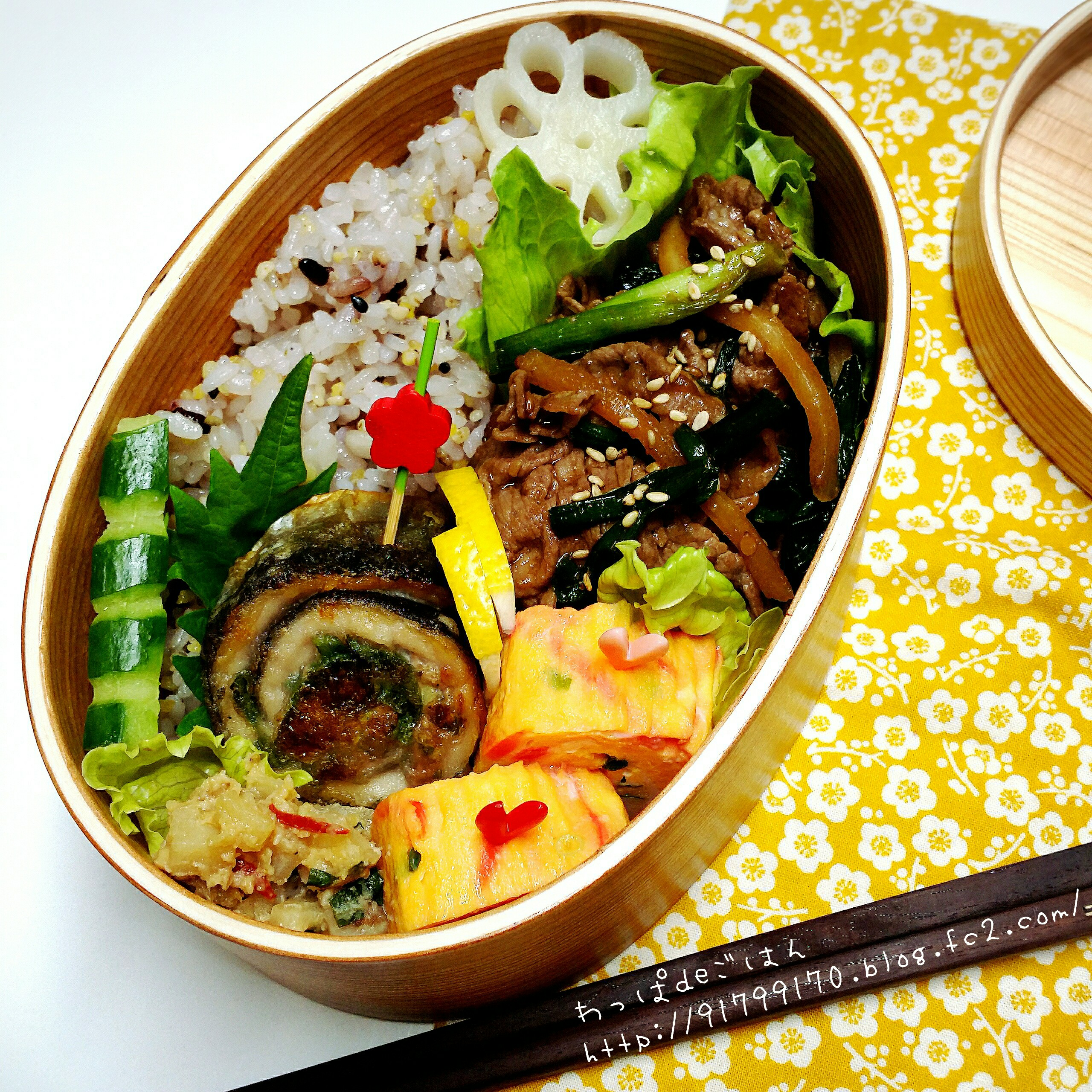 秋刀魚の梅しそ巻きと焼き肉弁当