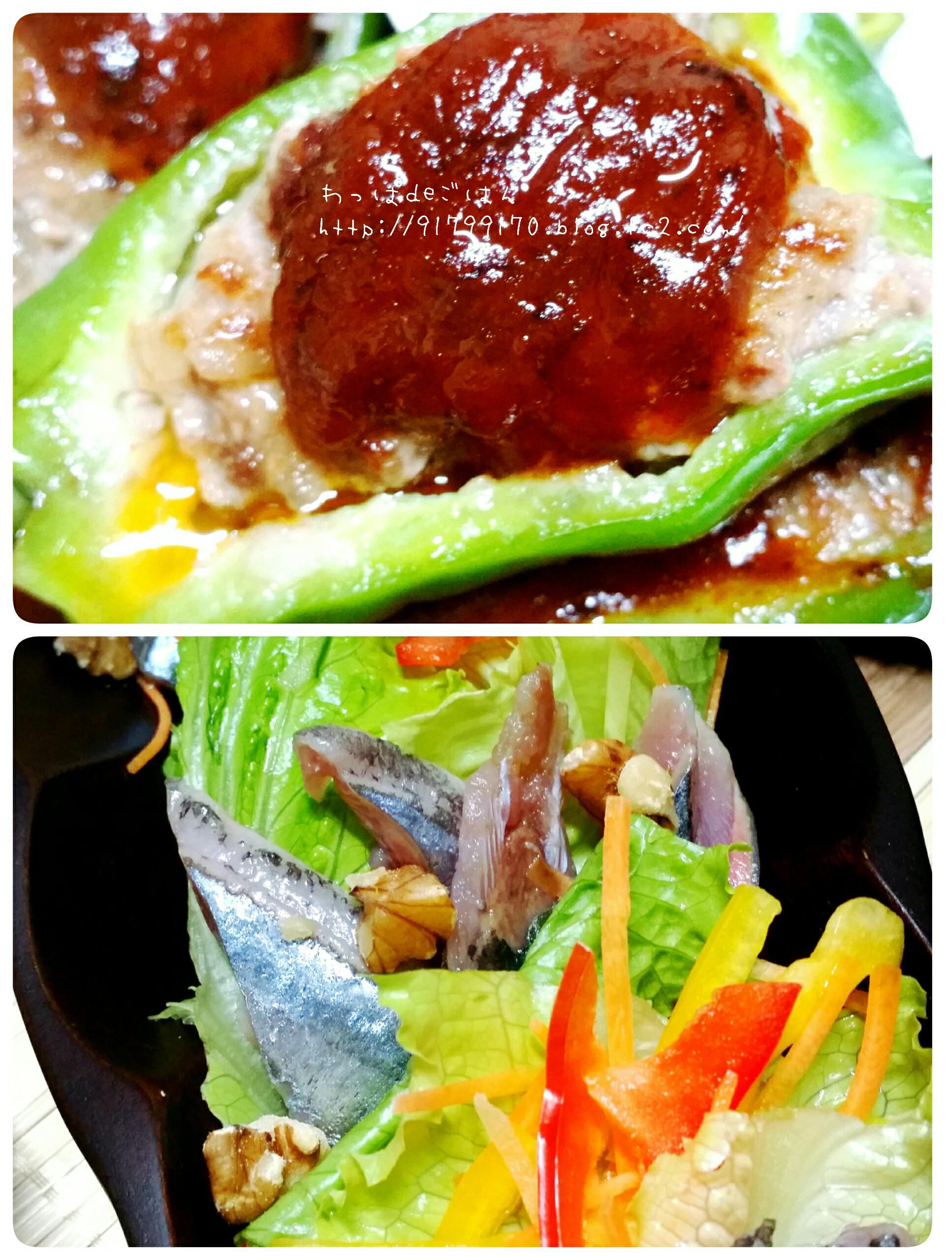 ピーマンの肉詰めと秋刀魚のカルパッチョ