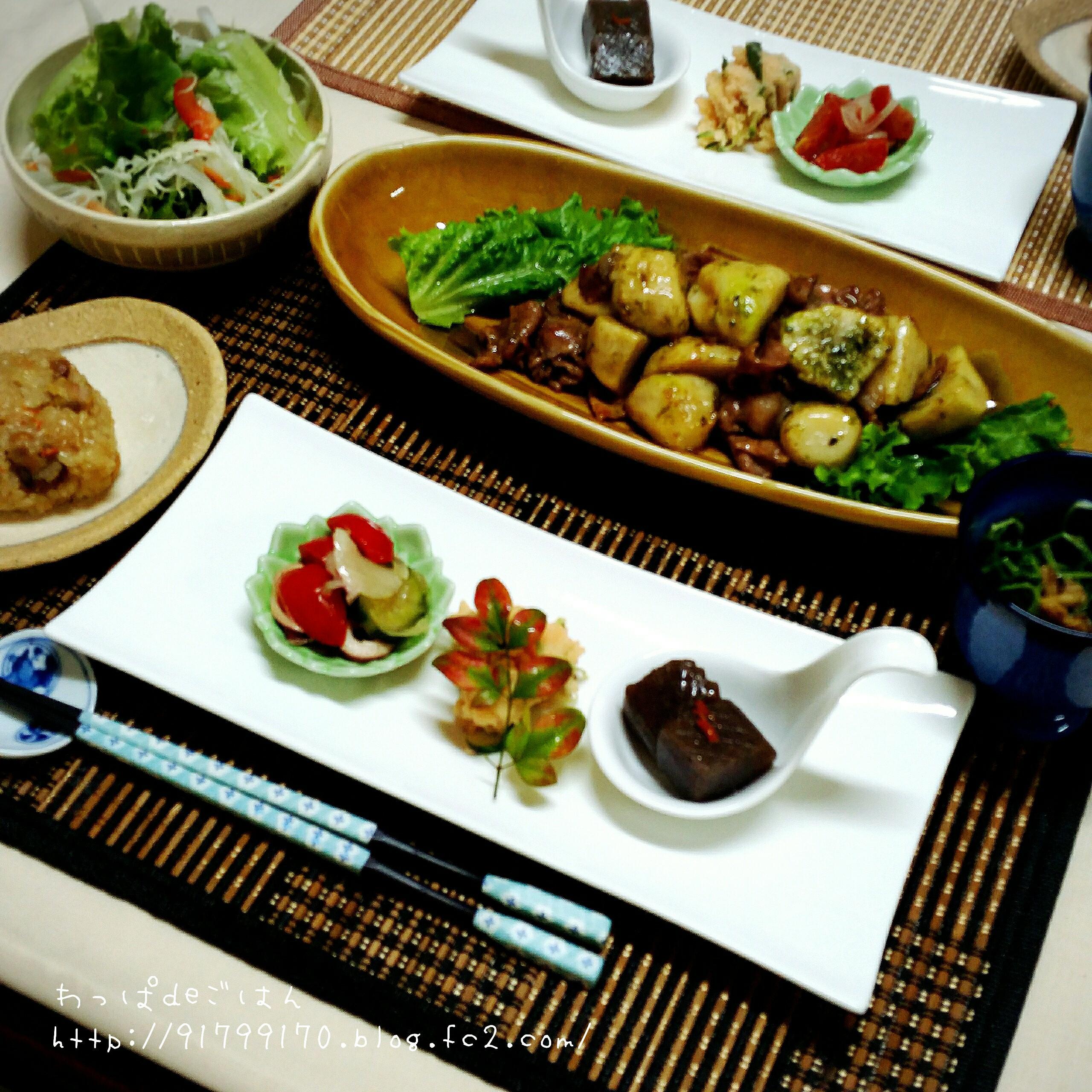 里芋と豚バラの甘辛炒めの晩ごはん