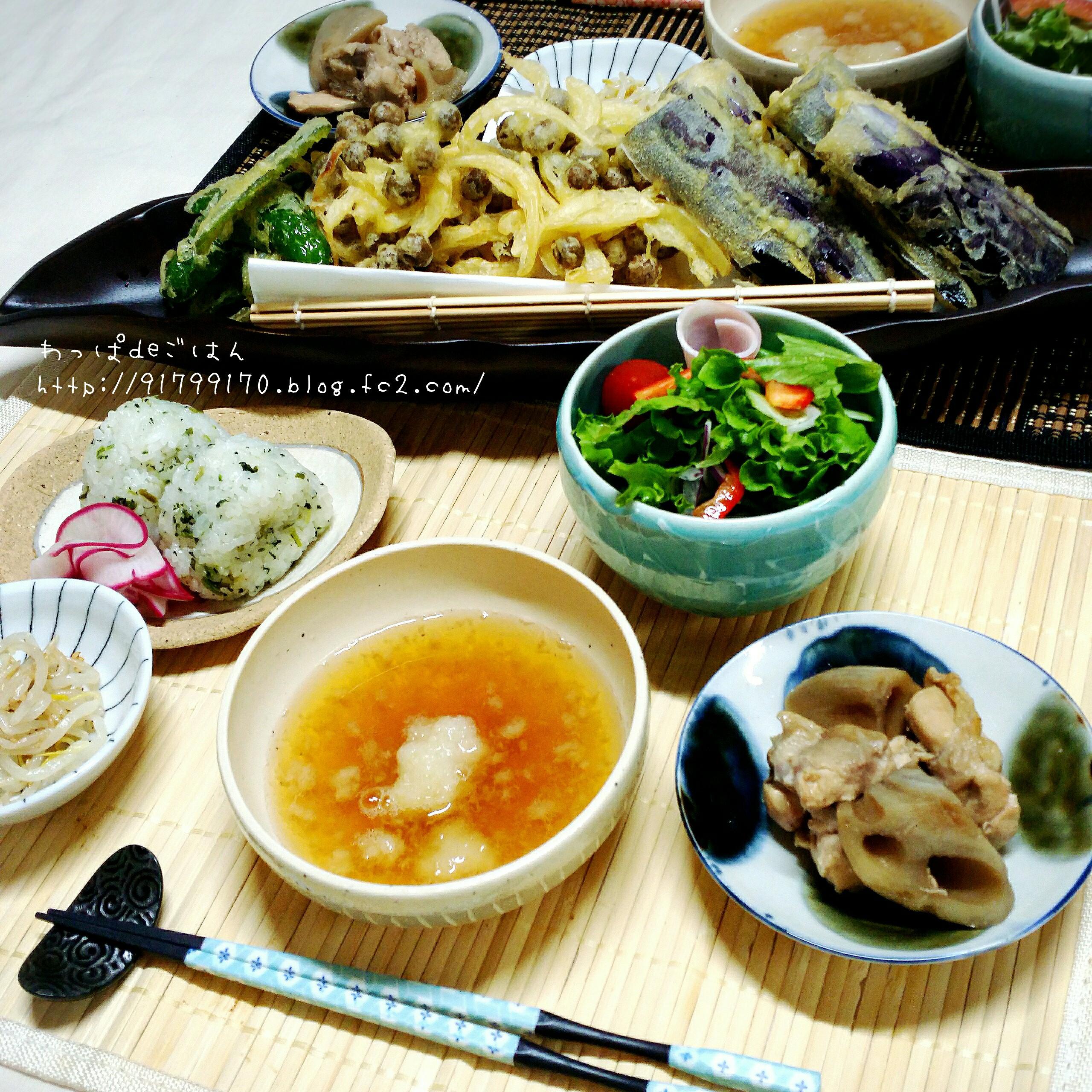 むがごの天ぷらの晩ごはん