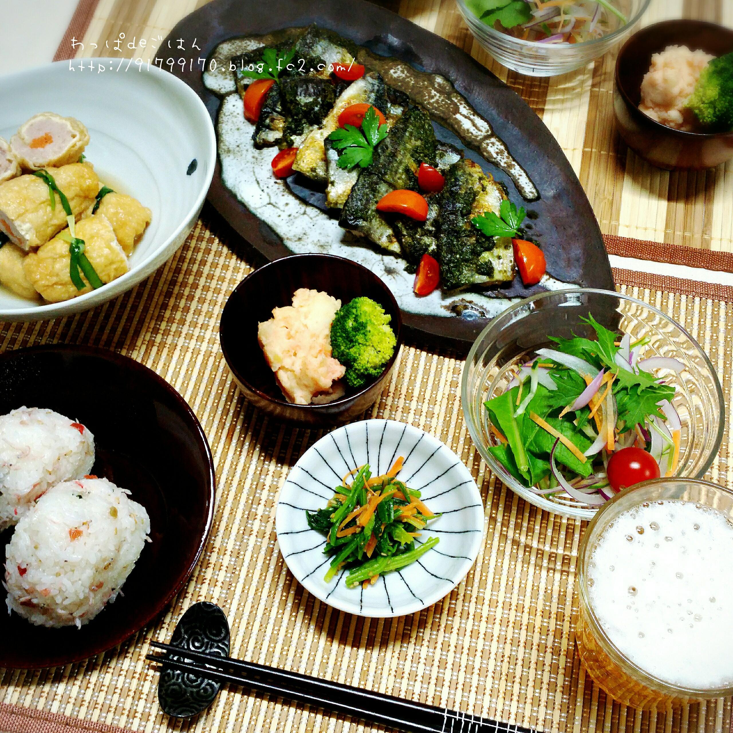 秋刀魚のジェノベーゼソースの晩ごはん