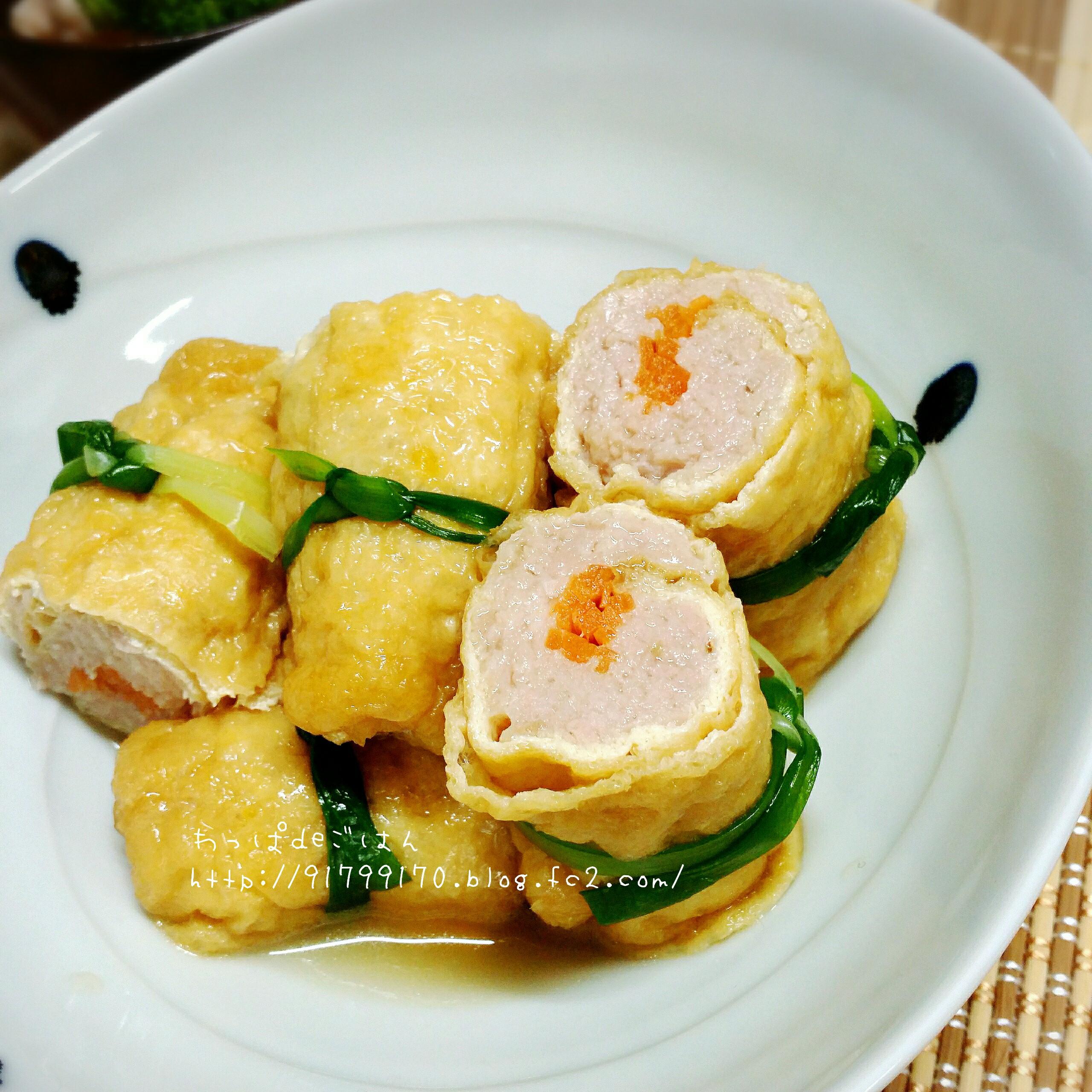 鶏ミンチの揚げ巻き炊き合わせ