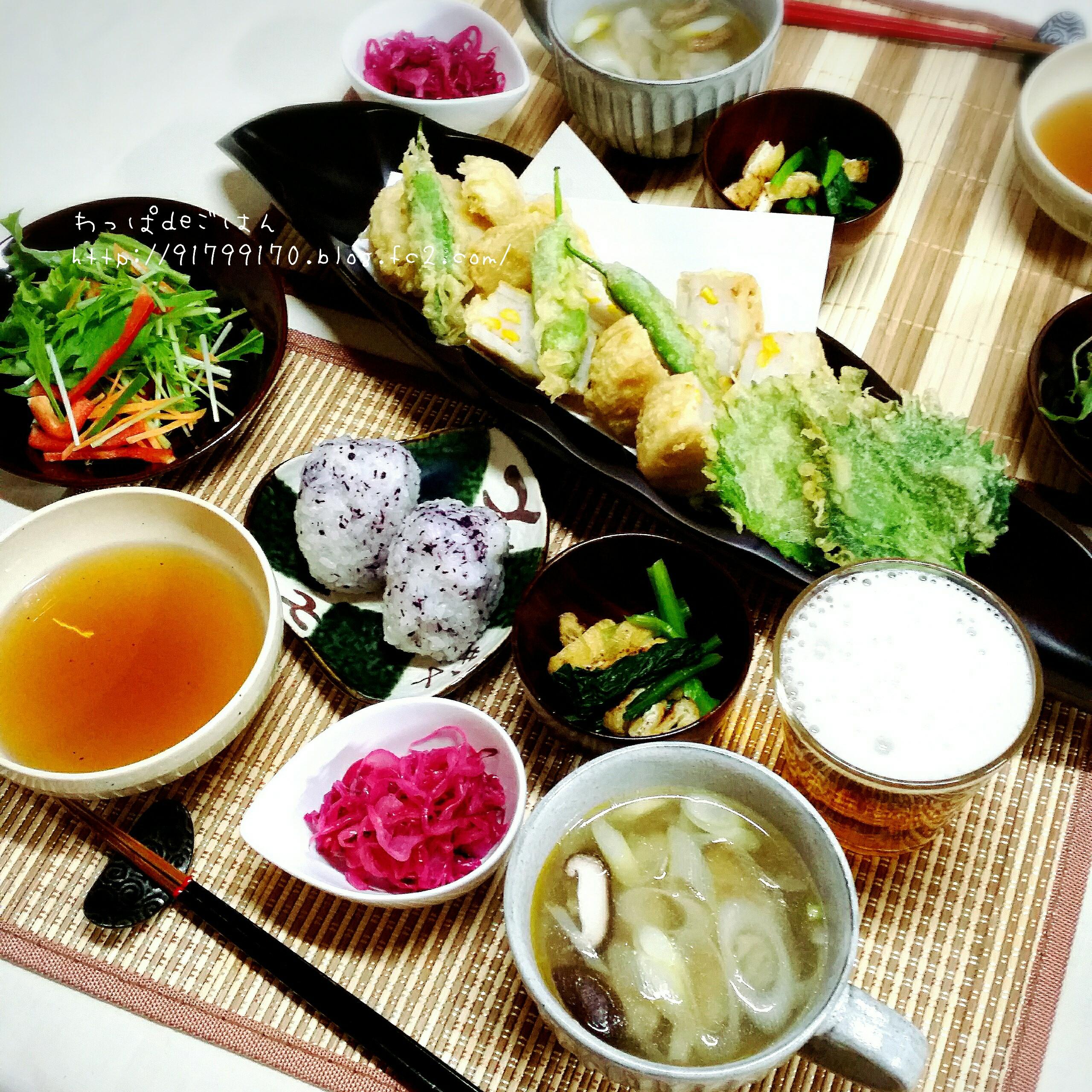 天ぷらと水餃子の晩ごはん