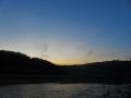 青葉山に落ちた夕日