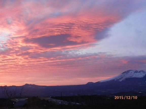 朝焼けと浅間山