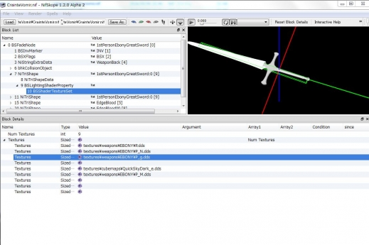 両手剣のグロウテクスチャをNifSkopeのTextureSetに追加