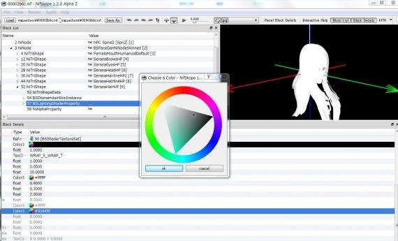 フォロワーMODの髪色を変える NifSkopeでの作業画面