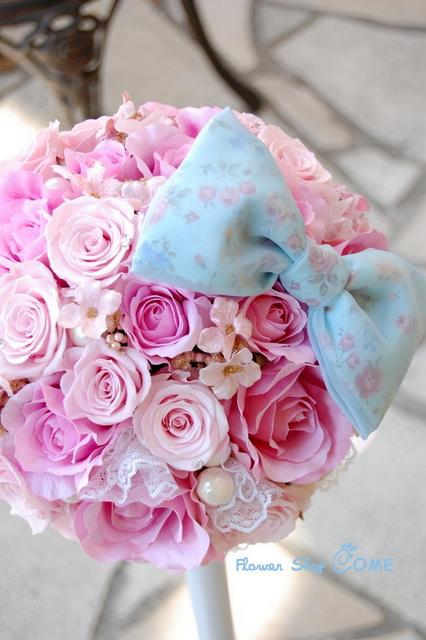 ピンク 秋 結婚式 かわいい ブーケ