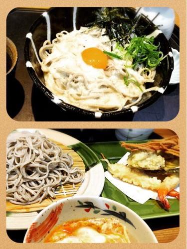 京都のお蕎麦屋さんで食べた とろろ蕎麦と天ぷら