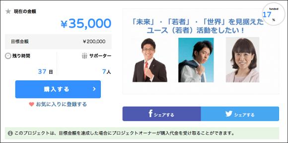 ▼次に、こちらは2日前の12/2の資金募集ページのキャプチャー。7人から35,000円の出資だ。