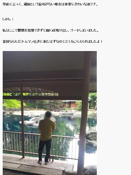 平成25年(2013年)5月27日頃、韓国人が靖国神社本殿の裏側にある池に小便を垂れた!