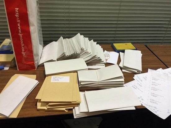 脅迫状を多数送付ための宛名貼りや封筒への脅迫状挿入などの作業は、職場の全国大学生協連で行われていた石野雅之