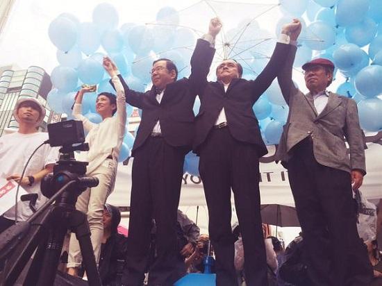 民主党、共産党、社民党、元公明党の方々が手をつなぎました!