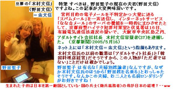野田聖子の夫【金文信→木村文信→野田文信】は、アダルト迷惑スパムメールで逮捕されていた!