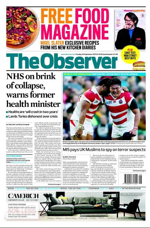 英国の一般紙「オブザーバー 」(毎週日曜日発行のイギリスの新聞)でも、日本の勝利をトップ記事にしている