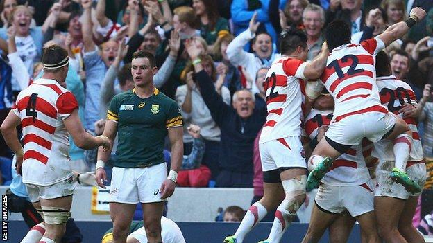 地元BBC「ラグビー史上最大の大番狂わせ!!日本が2度世界チャンピョンの南アフリカを仰天させた!」 Rugby World Cup 2015: South Africa 32-34 Japan