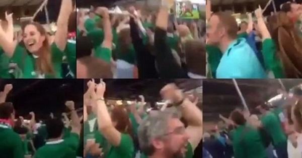 アイルランドのダブリンでテレビ観戦で、日本を応援し、日本が勝ち越しトライを決めて勝利を決定的にした瞬間に狂喜乱舞するアイルランド人たち!