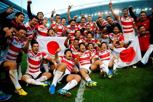 Japan celebrate victory after the match Reuters Eddie Keogh Livepic
