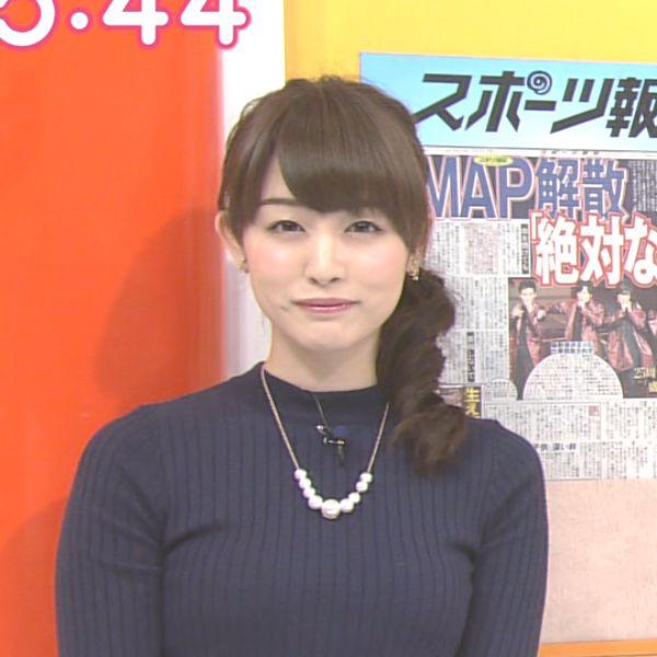【アナウンサー】女子アナ新井恵理那のおっぱいがピチピチなニットでエロかった