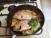 フライパンで連子鯛煮付け34