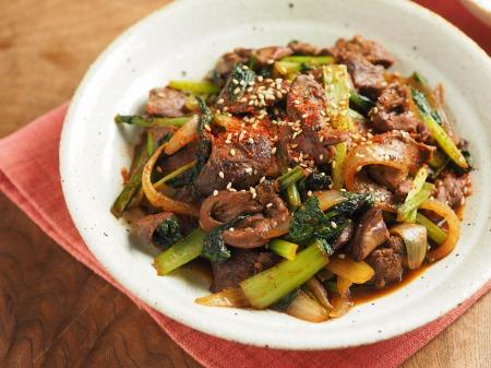 鶏レバーと小松菜の焼き肉炒16