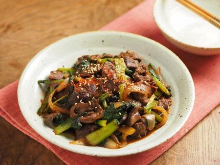 鶏レバーと小松菜の焼き肉炒15