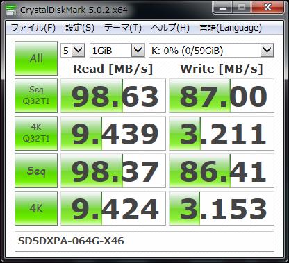 【CrystalDiskMark 5.0.2 x64】SDSDXPA-064G-X46