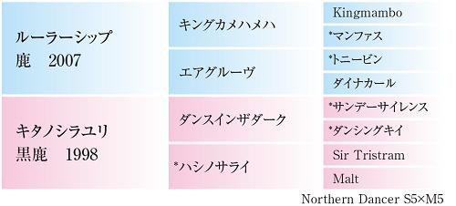 キタノシラユリ14・血統表