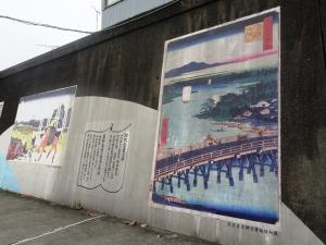 桟橋に描かれた江戸時代の橋
