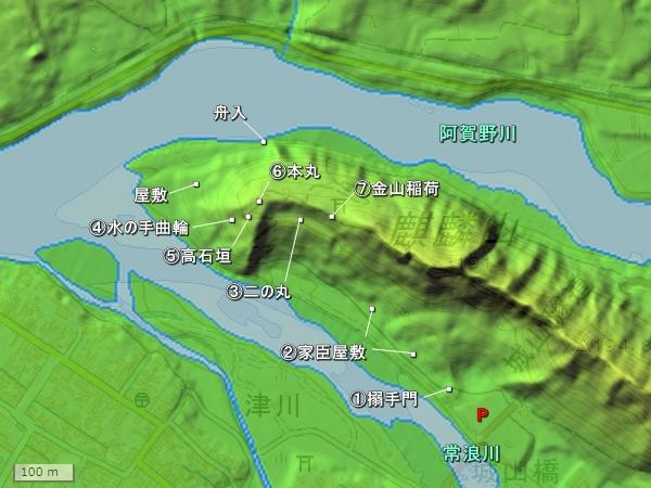 津川城地形図
