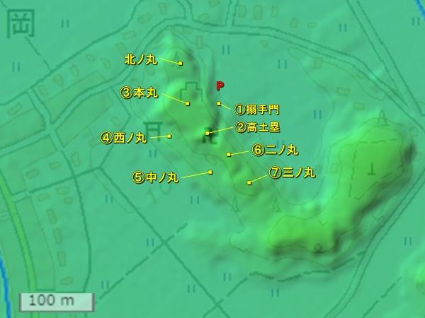 笹岡城地形図