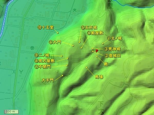 羽茂城地形図