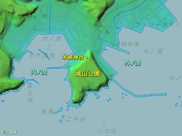 浮亀城地形図