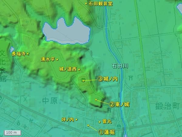 河原田城地形図