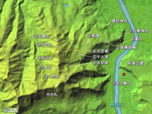 栃尾城地形図