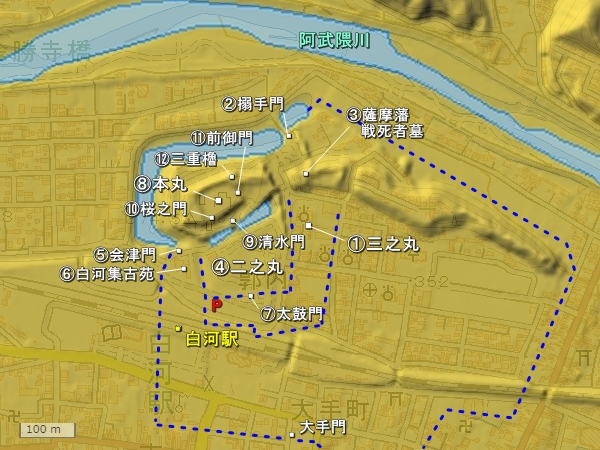 白河小峰城地形図