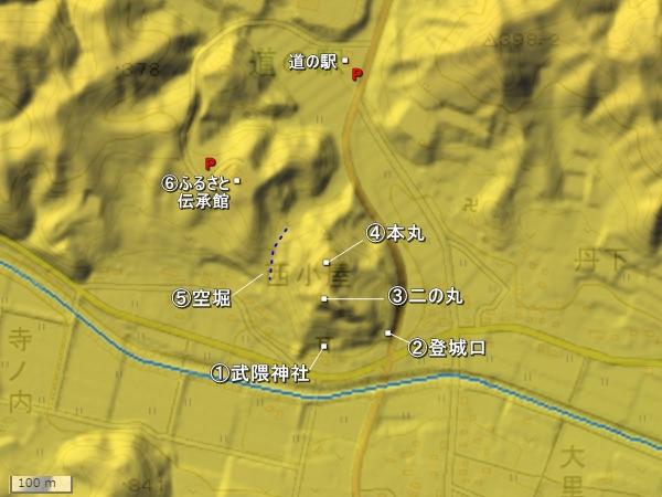 大里牛ヶ城地形図