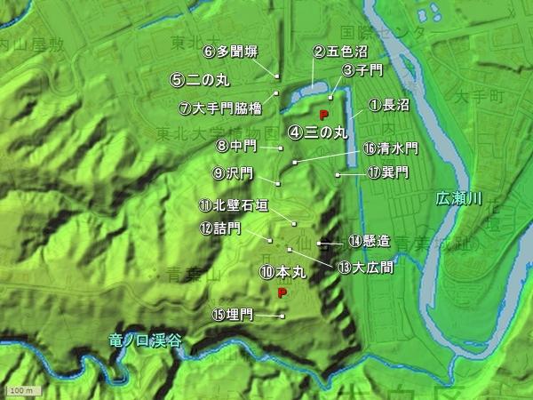 仙台城地形図