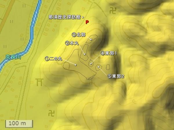 芦野城地形図