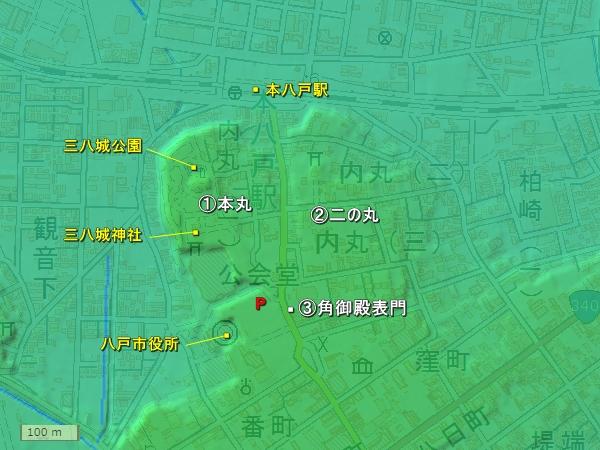 八戸城地形図