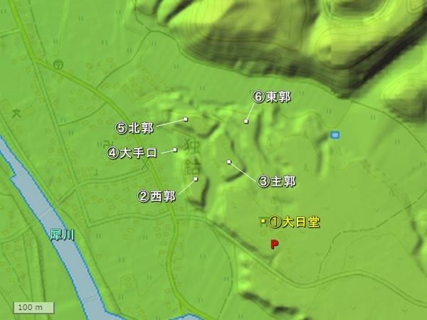 十狐城地形図