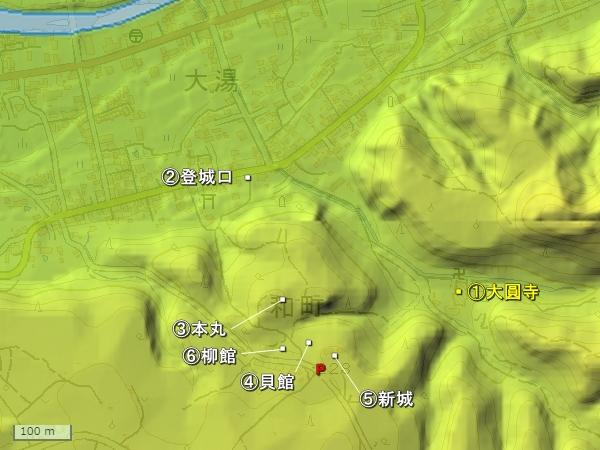 大湯城地形図