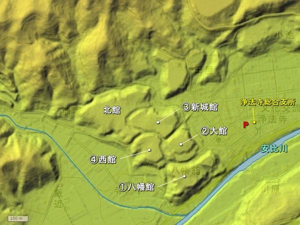 浄法寺城地形図