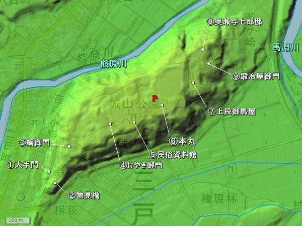 三戸城地形図